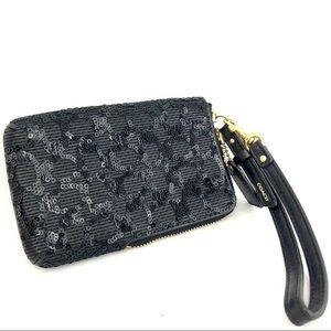 Coach Black Sequin Wrislet Wallet